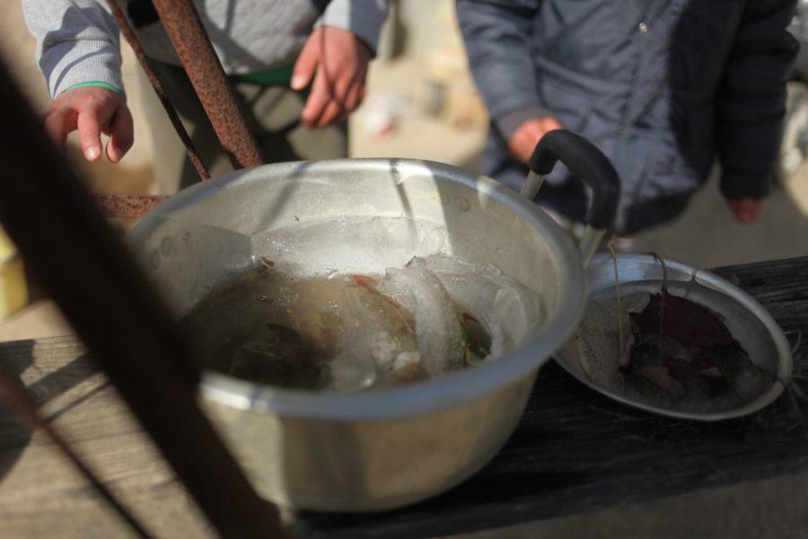凍った鍋の水
